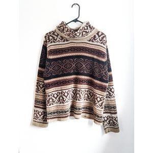 Early 2000s Brown/Tan Damask Turtleneck Sweater